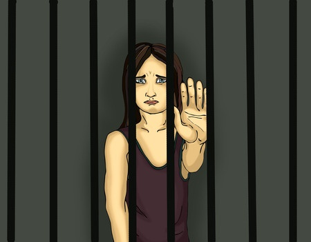 61376303 - the child in prison. children of criminals. behind bars. juvenile criminals. angry and unhappy girl showing hand sign enough. against violence. stop the violence. portrait on the dark background. pop art illustration